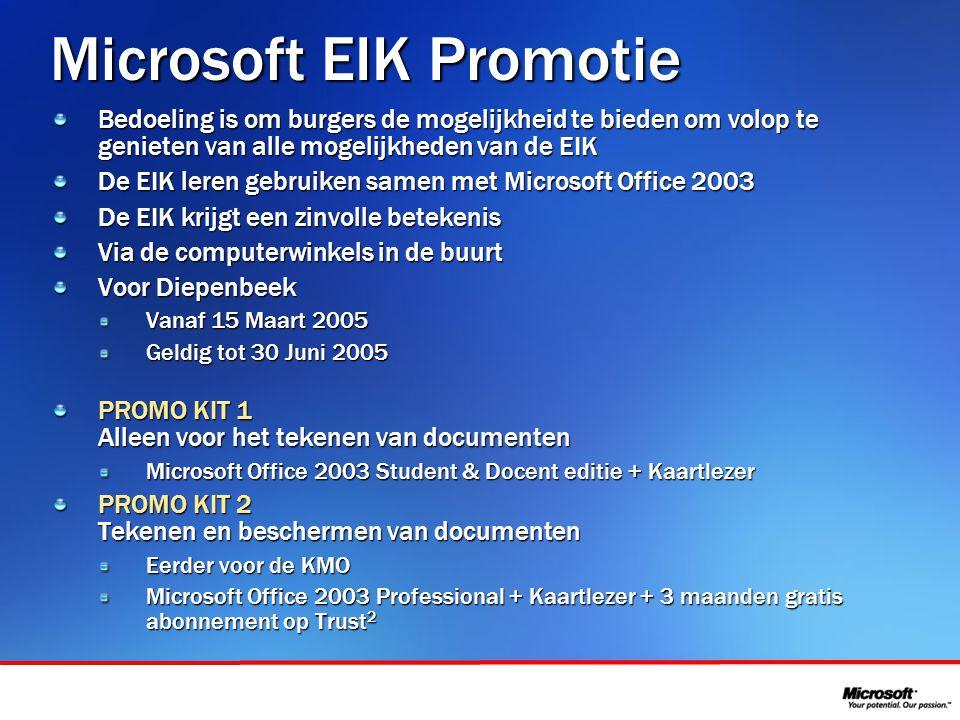 In samenwerking met Microsoft EIK Promotie Bedoeling is om burgers de mogelijkheid te bieden om volop te genieten van alle mogelijkheden van de EIK De