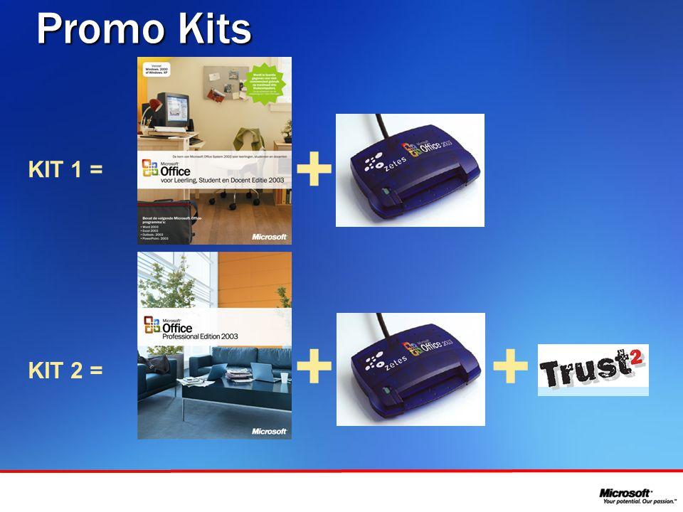 In samenwerking met Promo Kits + + KIT 1 = KIT 2 = +