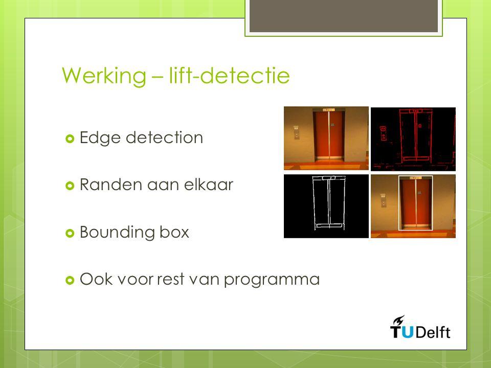 Werking – lift-detectie  Edge detection  Randen aan elkaar  Bounding box  Ook voor rest van programma