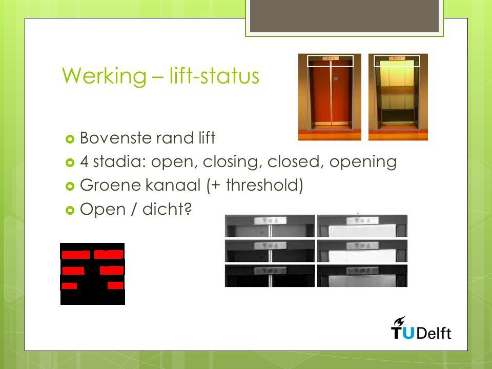 Werking – lift-status  Bovenste rand lift  4 stadia: open, closing, closed, opening  Groene kanaal (+ threshold)  Open / dicht?