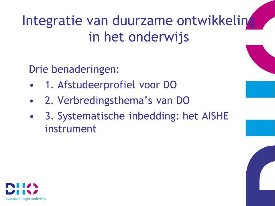 Integratie van duurzame ontwikkeling in het onderwijs Drie benaderingen: 1. Afstudeerprofiel voor DO 2. Verbredingsthema's van DO 3. Systematische inb