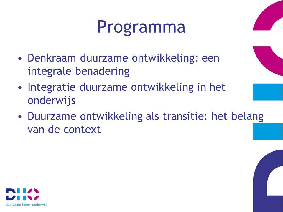 Programma Denkraam duurzame ontwikkeling: een integrale benadering Integratie duurzame ontwikkeling in het onderwijs Duurzame ontwikkeling als transitie: het belang van de context