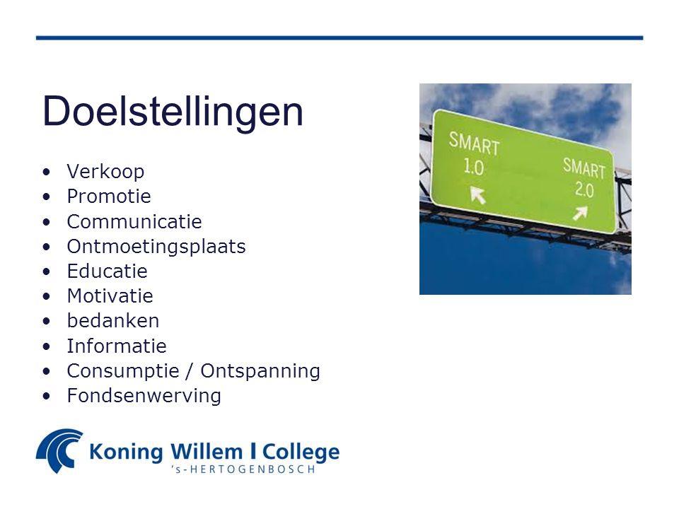 Doelstellingen Verkoop Promotie Communicatie Ontmoetingsplaats Educatie Motivatie bedanken Informatie Consumptie / Ontspanning Fondsenwerving