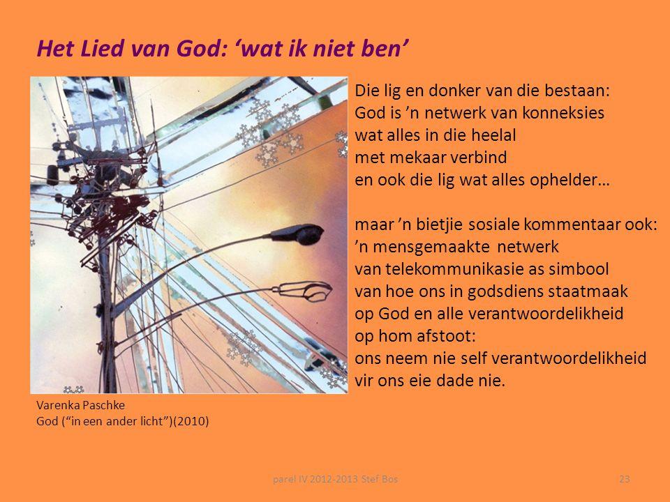 parel IV 2012-2013 Stef Bos22  Kunnen wij ons in de voorstelling die Stef Bos van God maakt herkennen?  Helpt zijn voorstelling ons om te verstaan w