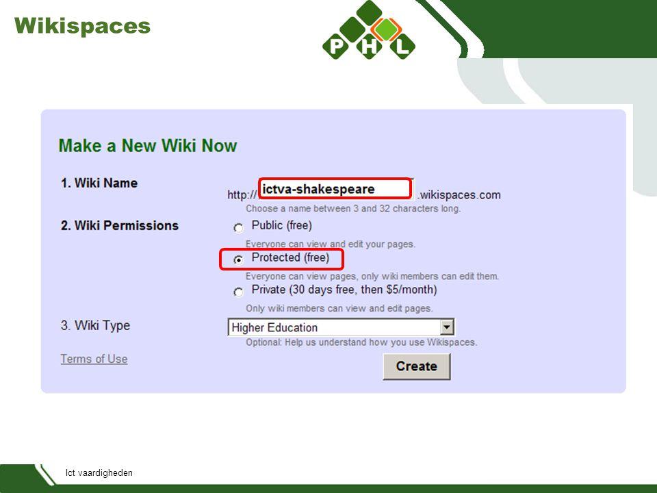 Ict vaardigheden Wikispaces