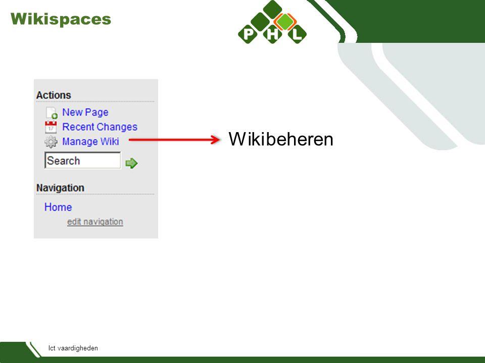 Ict vaardigheden Wikispaces Wiki beheren