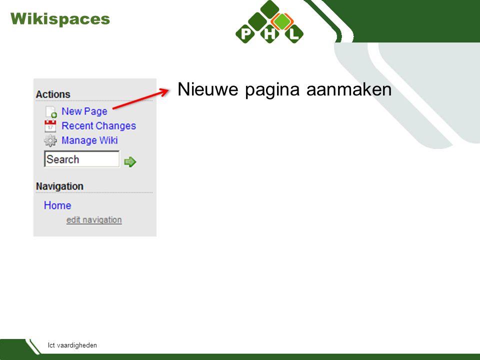Ict vaardigheden Wikispaces Nieuwe pagina aanmaken