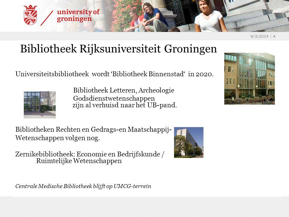 9/3/2014 | 4 Bibliotheek Rijksuniversiteit Groningen Universiteitsbibliotheek wordt 'Bibliotheek Binnenstad' in 2020.