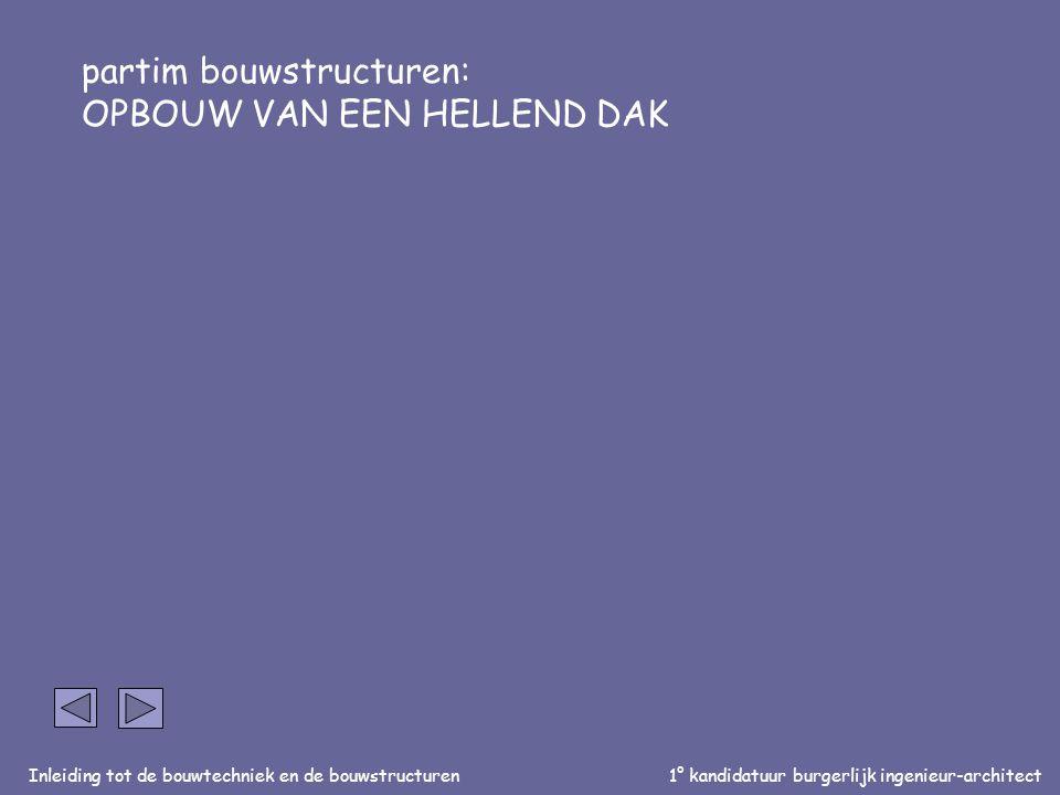 Inleiding tot de bouwtechniek en de bouwstructuren1° kandidatuur burgerlijk ingenieur-architect partim bouwstructuren: OPBOUW VAN EEN HELLEND DAK