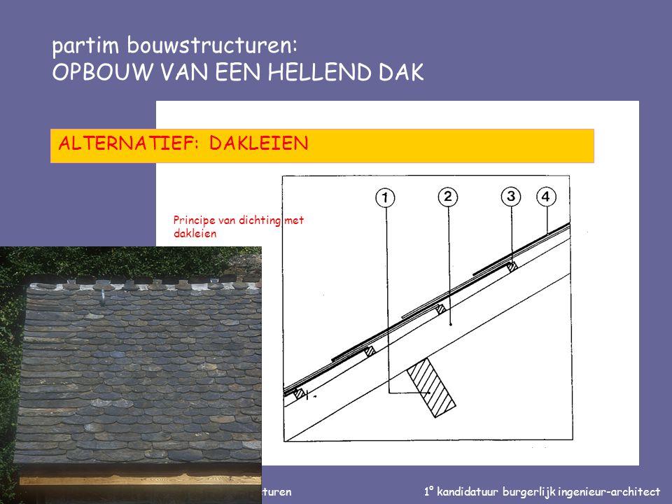 Inleiding tot de bouwtechniek en de bouwstructuren1° kandidatuur burgerlijk ingenieur-architect partim bouwstructuren: OPBOUW VAN EEN HELLEND DAK ALTERNATIEF: DAKLEIEN Principe van dichting met dakleien