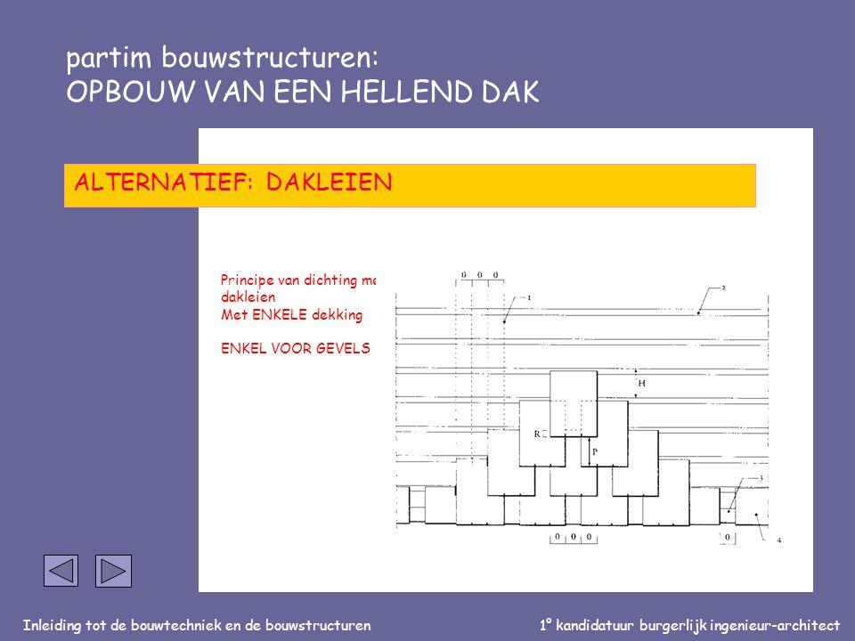 Inleiding tot de bouwtechniek en de bouwstructuren1° kandidatuur burgerlijk ingenieur-architect partim bouwstructuren: OPBOUW VAN EEN HELLEND DAK ALTE