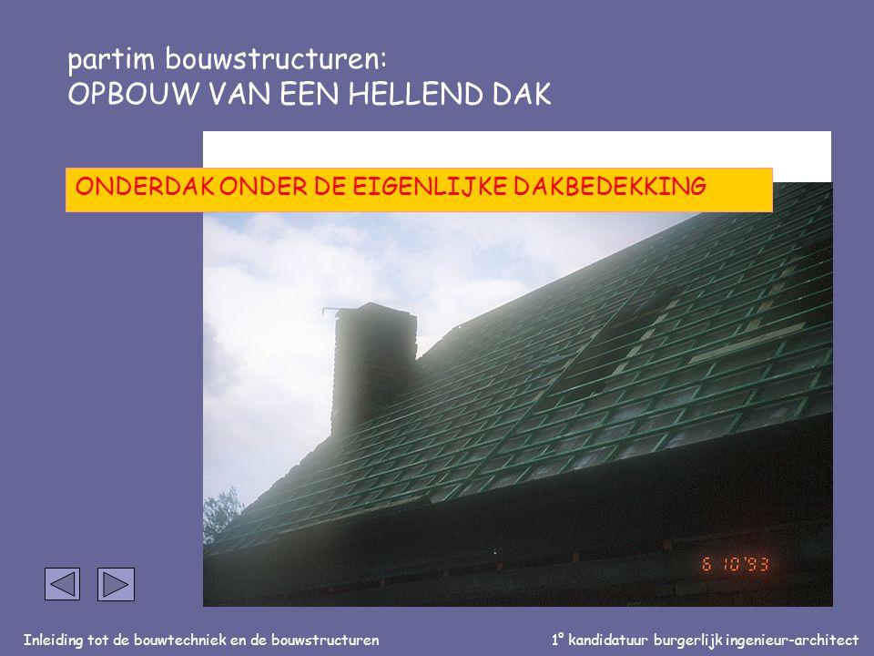 Inleiding tot de bouwtechniek en de bouwstructuren1° kandidatuur burgerlijk ingenieur-architect partim bouwstructuren: OPBOUW VAN EEN HELLEND DAK Dakp