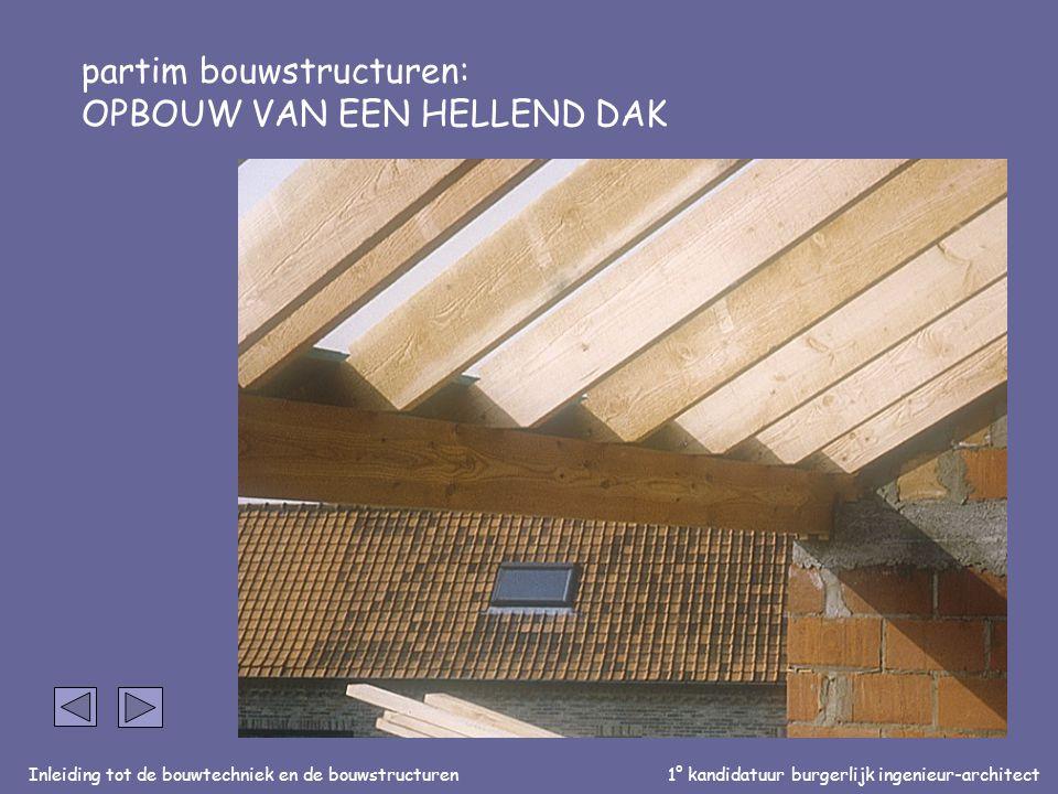 Inleiding tot de bouwtechniek en de bouwstructuren1° kandidatuur burgerlijk ingenieur-architect partim bouwstructuren: OPBOUW VAN EEN HELLEND DAK Aansluiting dakstructuur op muur: Dakkepers bevestigd op muurplaat (verankering op ringbalk)