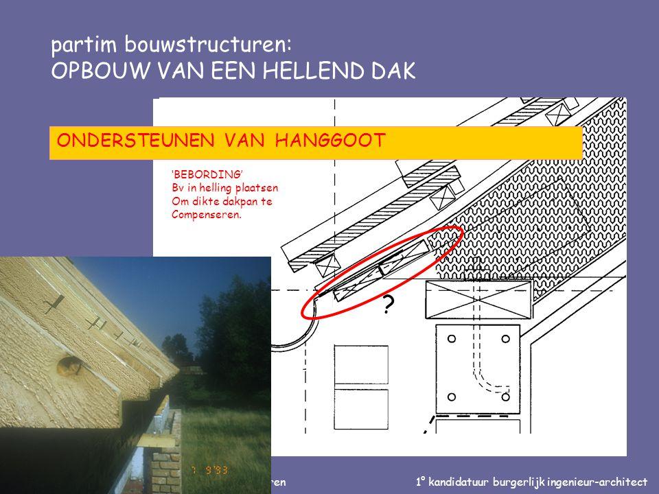 Inleiding tot de bouwtechniek en de bouwstructuren1° kandidatuur burgerlijk ingenieur-architect partim bouwstructuren: OPBOUW VAN EEN HELLEND DAK ONDE