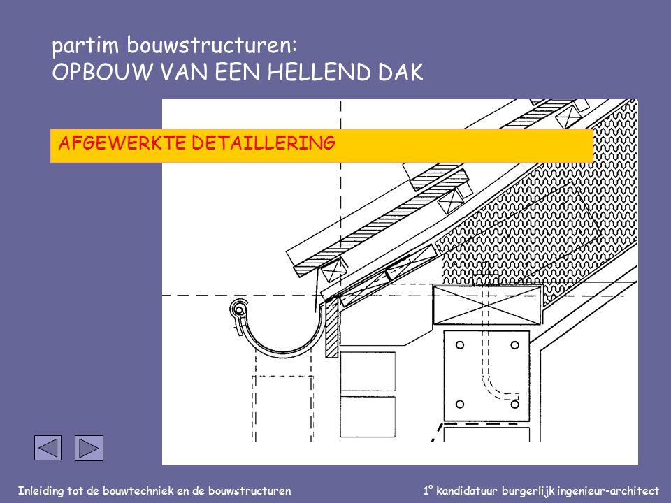 Inleiding tot de bouwtechniek en de bouwstructuren1° kandidatuur burgerlijk ingenieur-architect partim bouwstructuren: OPBOUW VAN EEN HELLEND DAK AFGEWERKTE DETAILLERING