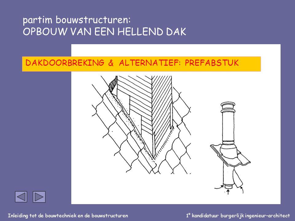 Inleiding tot de bouwtechniek en de bouwstructuren1° kandidatuur burgerlijk ingenieur-architect partim bouwstructuren: OPBOUW VAN EEN HELLEND DAK DAKDOORBREKING & ALTERNATIEF: PREFABSTUK