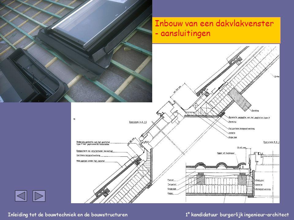Inleiding tot de bouwtechniek en de bouwstructuren1° kandidatuur burgerlijk ingenieur-architect partim bouwstructuren: OPBOUW VAN EEN HELLEND DAK Inbouw van een dakvlakvenster - aansluitingen