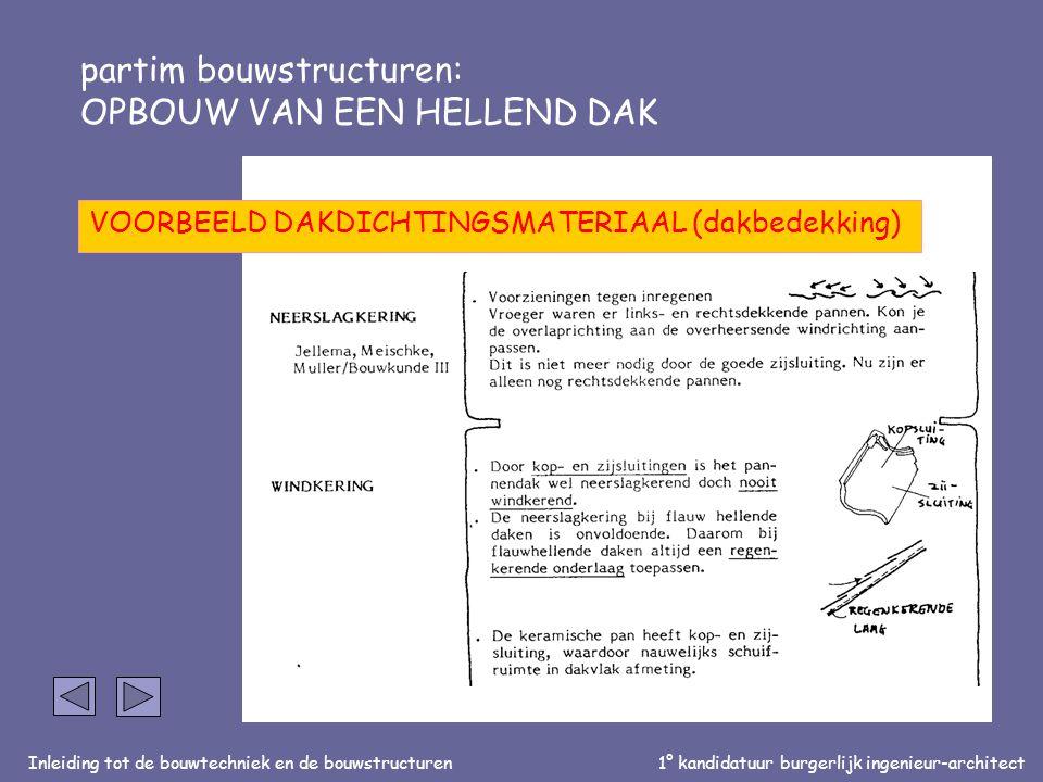 Inleiding tot de bouwtechniek en de bouwstructuren1° kandidatuur burgerlijk ingenieur-architect partim bouwstructuren: OPBOUW VAN EEN HELLEND DAK VOORBEELD DAKDICHTINGSMATERIAAL (dakbedekking)