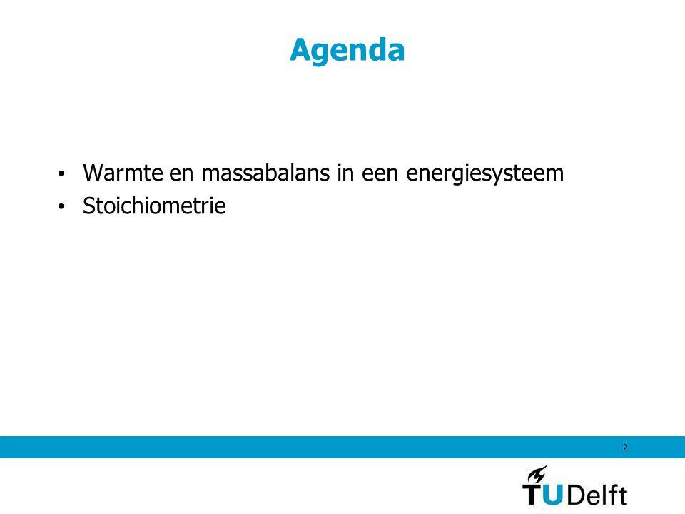 Agenda 2 Warmte en massabalans in een energiesysteem Stoichiometrie