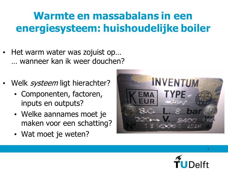 Warmte en massabalans in een energiesysteem: huishoudelijke boiler Het warm water was zojuist op… … wanneer kan ik weer douchen? Welk systeem ligt hie