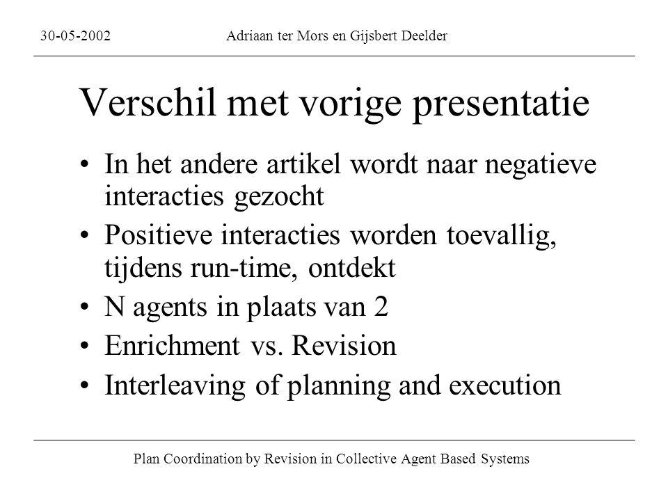 Verschil met vorige presentatie In het andere artikel wordt naar negatieve interacties gezocht Positieve interacties worden toevallig, tijdens run-time, ontdekt N agents in plaats van 2 Enrichment vs.