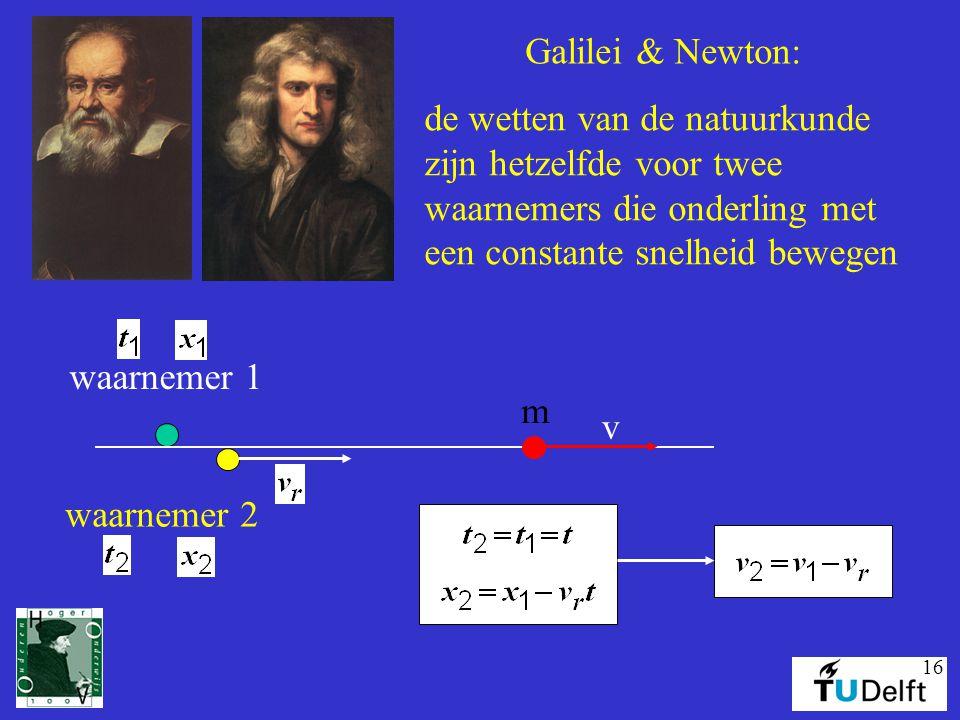 16 Galilei & Newton: de wetten van de natuurkunde zijn hetzelfde voor twee waarnemers die onderling met een constante snelheid bewegen waarnemer 1 waa