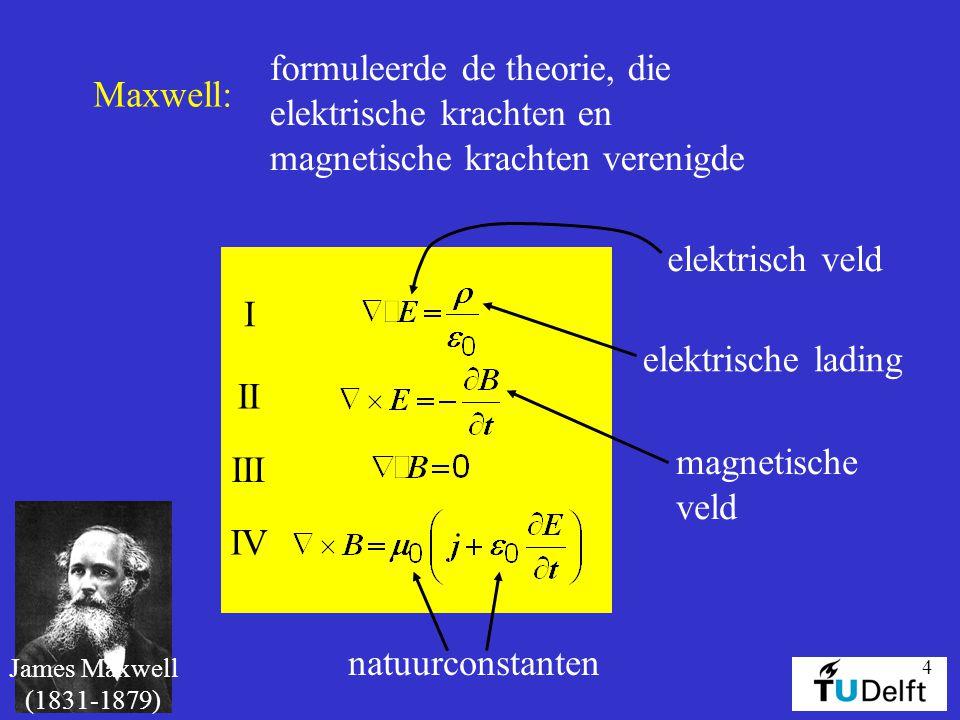 4 James Maxwell (1831-1879) Maxwell: formuleerde de theorie, die elektrische krachten en magnetische krachten verenigde I II III IV elektrisch veld el