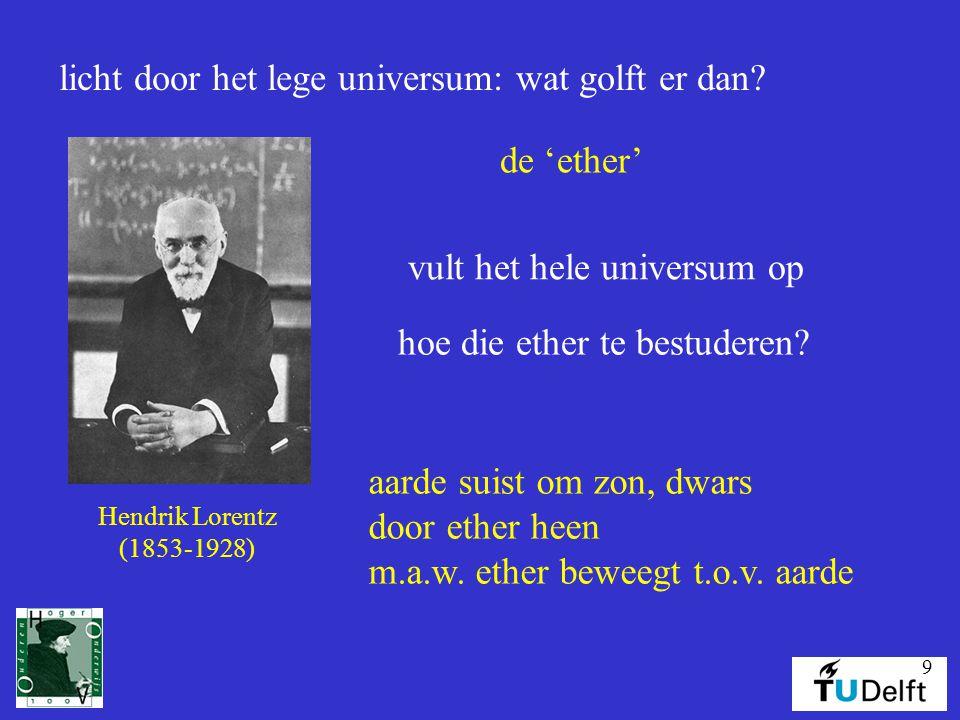 9 licht door het lege universum: wat golft er dan? Hendrik Lorentz (1853-1928) de 'ether' vult het hele universum op hoe die ether te bestuderen? aard