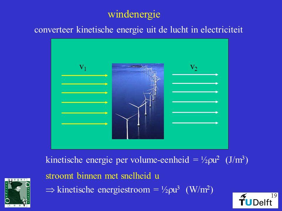 19 windenergie converteer kinetische energie uit de lucht in electriciteit v1v1 v2v2 kinetische energie per volume-eenheid = ½  u 2 (J/m 3 ) stroomt binnen met snelheid u  kinetische energiestroom = ½  u 3 (W/m 2 )
