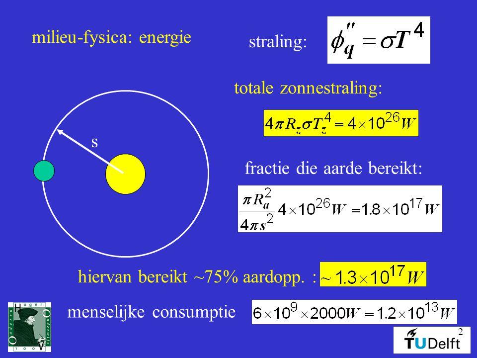 2 milieu-fysica: energie straling: totale zonnestraling: fractie die aarde bereikt: s hiervan bereikt ~75% aardopp.