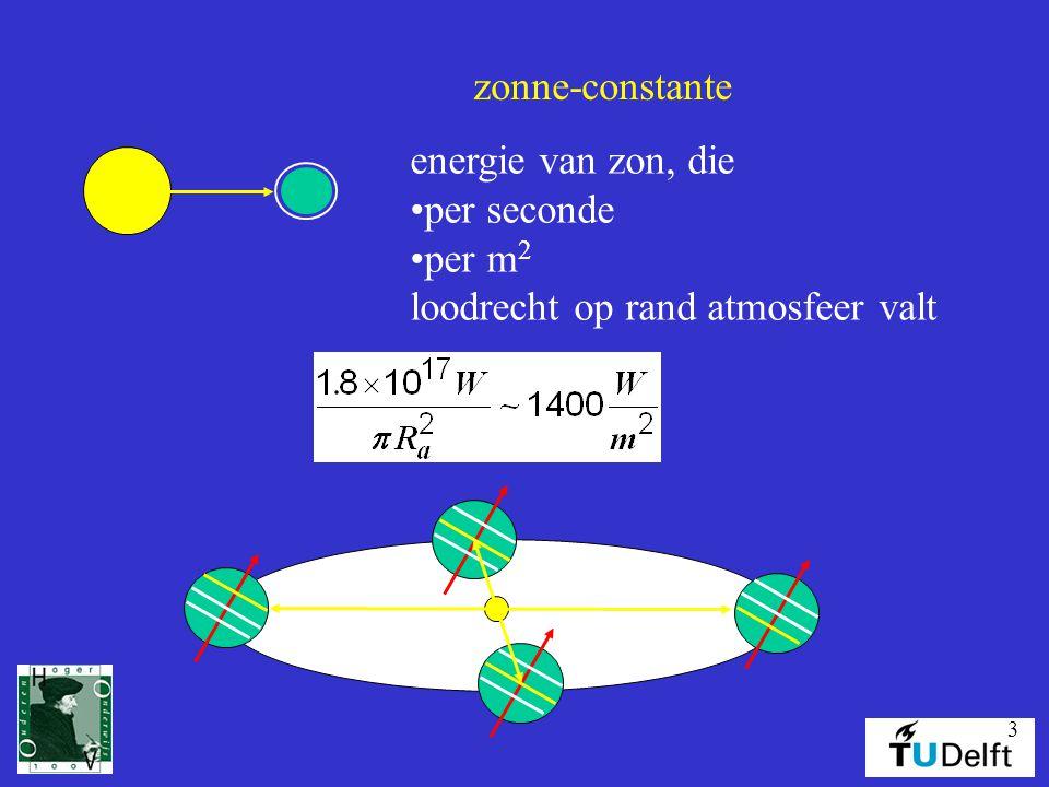 3 zonne-constante energie van zon, die per seconde per m 2 loodrecht op rand atmosfeer valt