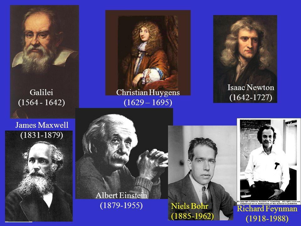 17 Isaac Newton (1642-1727) Galilei (1564 - 1642) Christian Huygens (1629 – 1695) James Maxwell (1831-1879) Albert Einstein (1879-1955) Niels Bohr (18