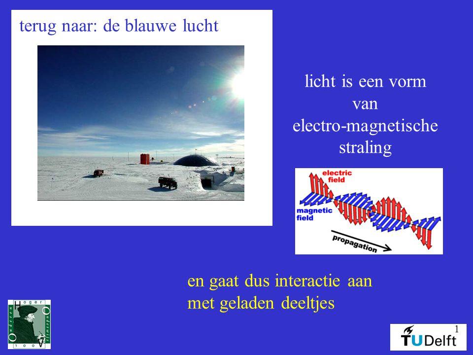 1 terug naar: de blauwe lucht licht is een vorm van electro-magnetische straling en gaat dus interactie aan met geladen deeltjes