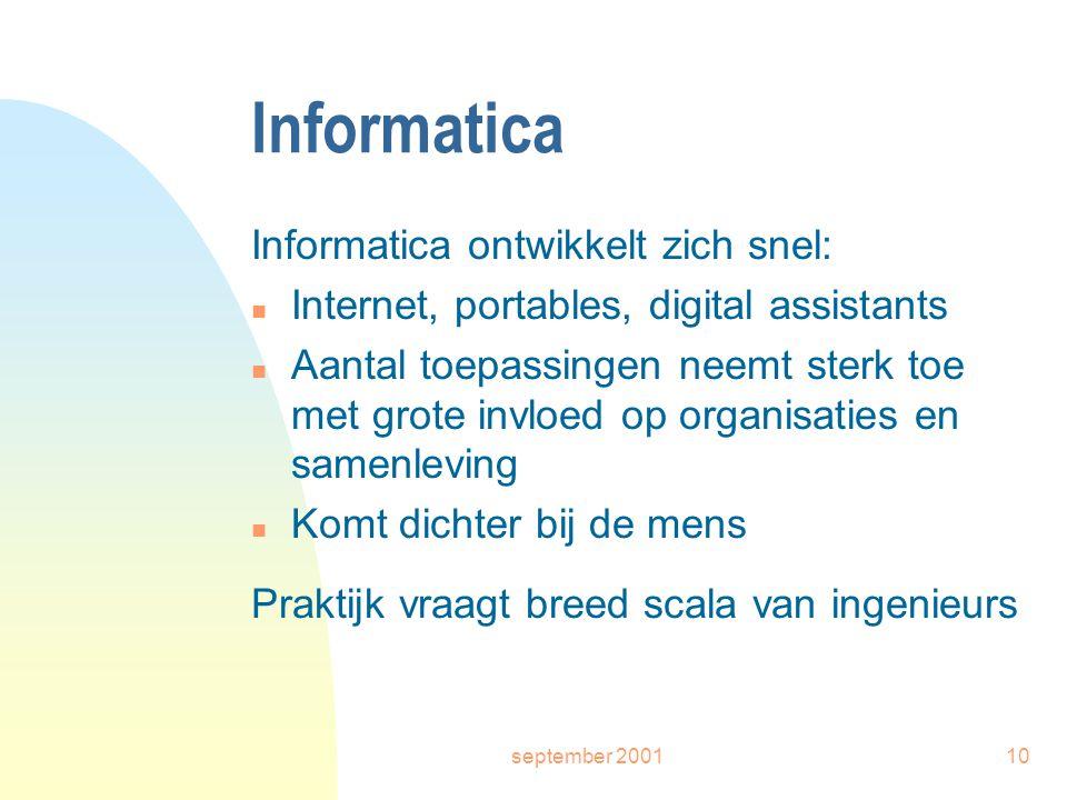 september 200110 Informatica Informatica ontwikkelt zich snel: n Internet, portables, digital assistants n Aantal toepassingen neemt sterk toe met grote invloed op organisaties en samenleving n Komt dichter bij de mens Praktijk vraagt breed scala van ingenieurs