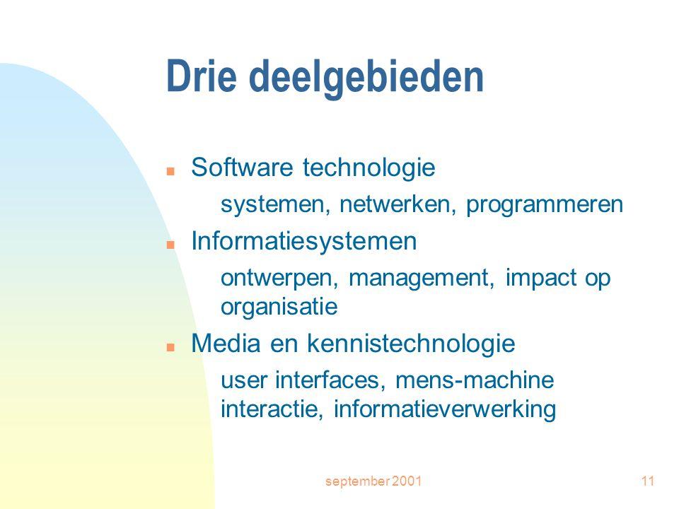 september 200111 Drie deelgebieden n Software technologie systemen, netwerken, programmeren n Informatiesystemen ontwerpen, management, impact op organisatie n Media en kennistechnologie user interfaces, mens-machine interactie, informatieverwerking