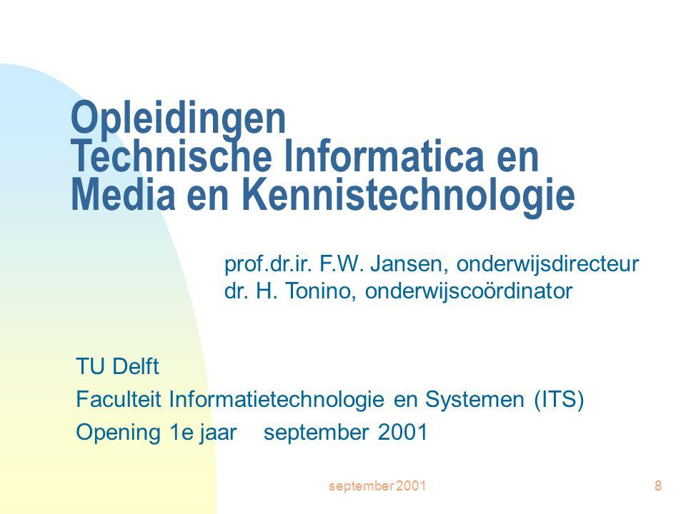 september 20018 Opleidingen Technische Informatica en Media en Kennistechnologie TU Delft Faculteit Informatietechnologie en Systemen (ITS) Opening 1e jaar september 2001 prof.dr.ir.