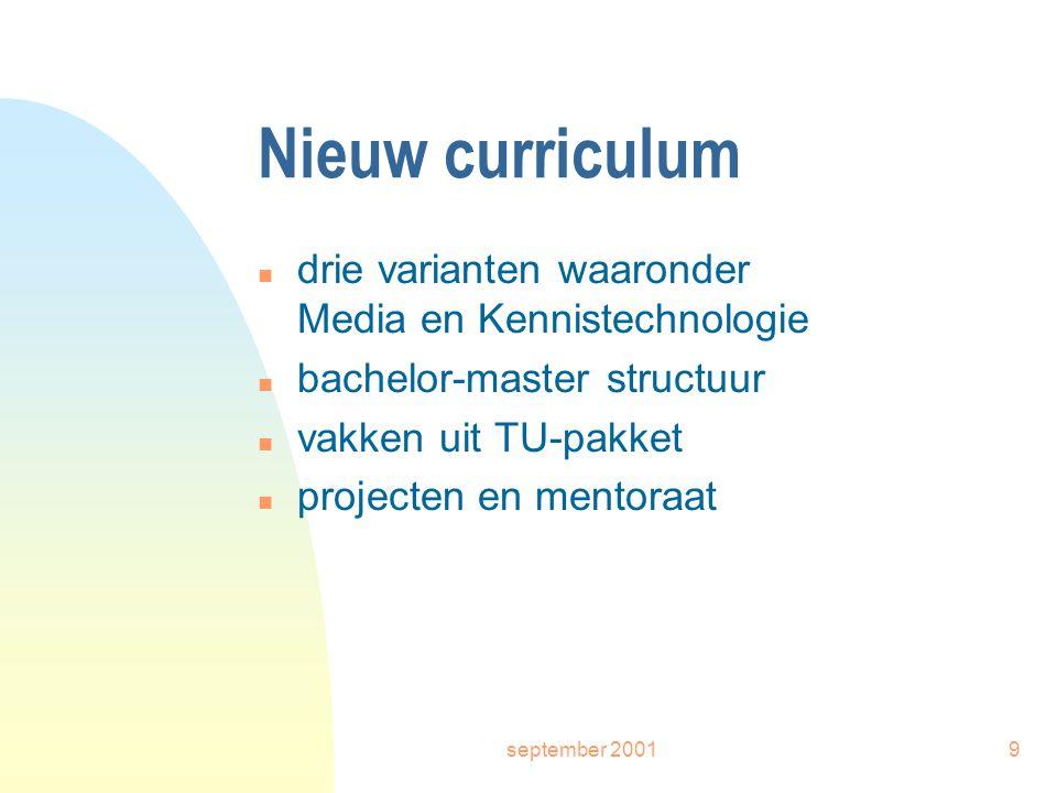 september 20019 Nieuw curriculum n drie varianten waaronder Media en Kennistechnologie n bachelor-master structuur n vakken uit TU-pakket n projecten en mentoraat