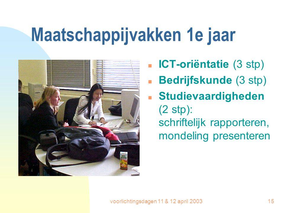 voorlichtingsdagen 11 & 12 april 200315 Maatschappijvakken 1e jaar n ICT-oriëntatie (3 stp) n Bedrijfskunde (3 stp) n Studievaardigheden (2 stp): schr