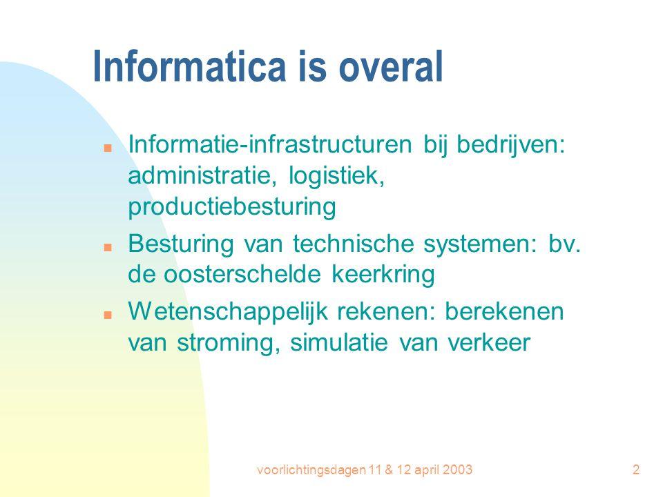 voorlichtingsdagen 11 & 12 april 20032 Informatica is overal n Informatie-infrastructuren bij bedrijven: administratie, logistiek, productiebesturing
