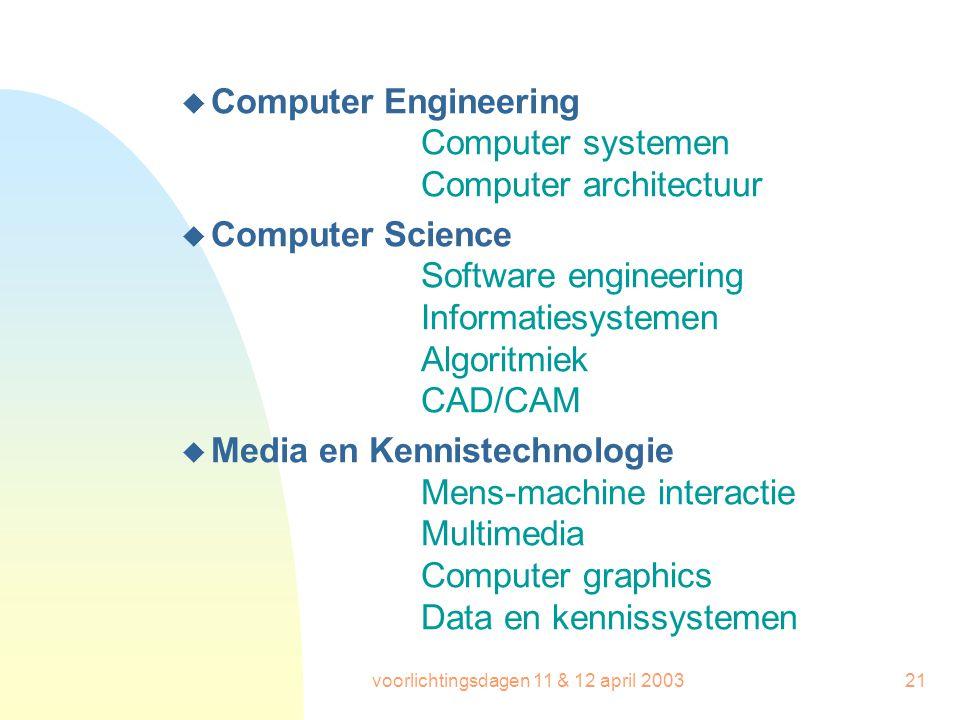 voorlichtingsdagen 11 & 12 april 200321 u Computer Engineering Computer systemen Computer architectuur u Computer Science Software engineering Informa
