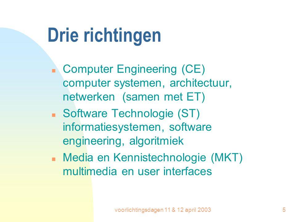 voorlichtingsdagen 11 & 12 april 200316 Variant-specifiek n Software Technologie (12 stp) informatiesystemen + project operating systemen + project n Media & Kennistechnologie (12 stp) mens-machine-interactie + project AI-technieken + project