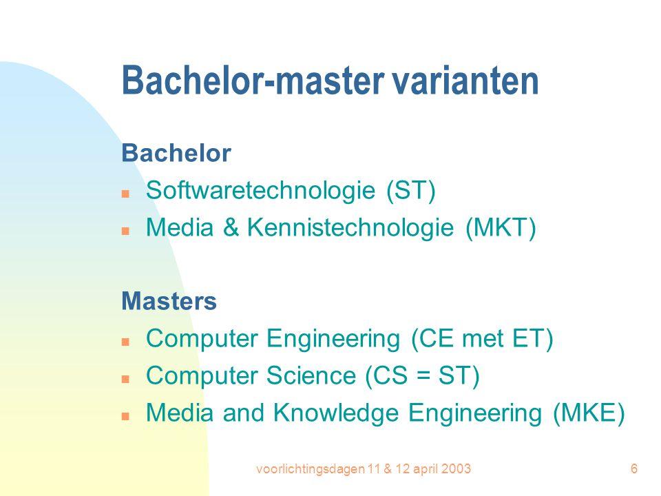 voorlichtingsdagen 11 & 12 april 20036 Bachelor-master varianten Bachelor n Softwaretechnologie (ST) n Media & Kennistechnologie (MKT) Masters n Compu