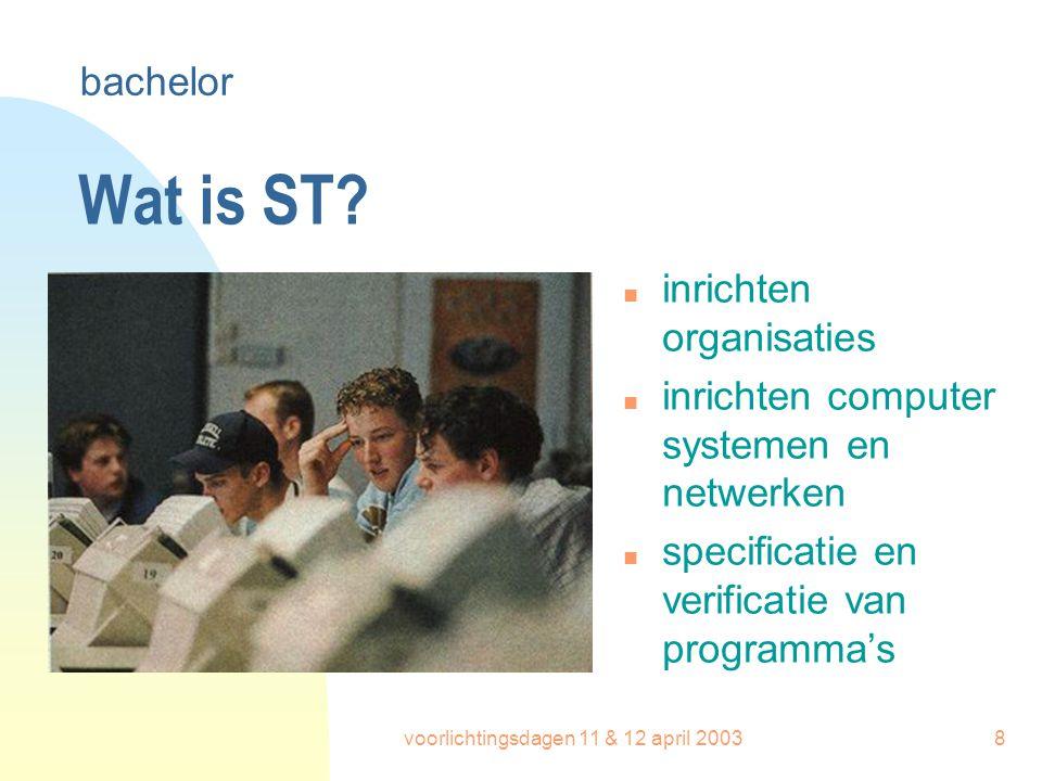 voorlichtingsdagen 11 & 12 april 20038 Wat is ST? n inrichten organisaties n inrichten computer systemen en netwerken n specificatie en verificatie va