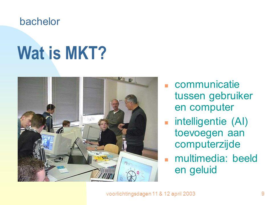 voorlichtingsdagen 11 & 12 april 20039 Wat is MKT? n communicatie tussen gebruiker en computer n intelligentie (AI) toevoegen aan computerzijde n mult
