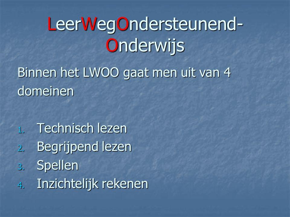 LeerWegOndersteunend- Onderwijs Binnen het LWOO gaat men uit van 4 domeinen 1.