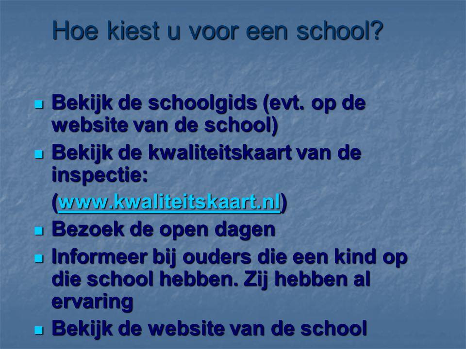 Hoe kiest u voor een school.Bekijk de schoolgids (evt.