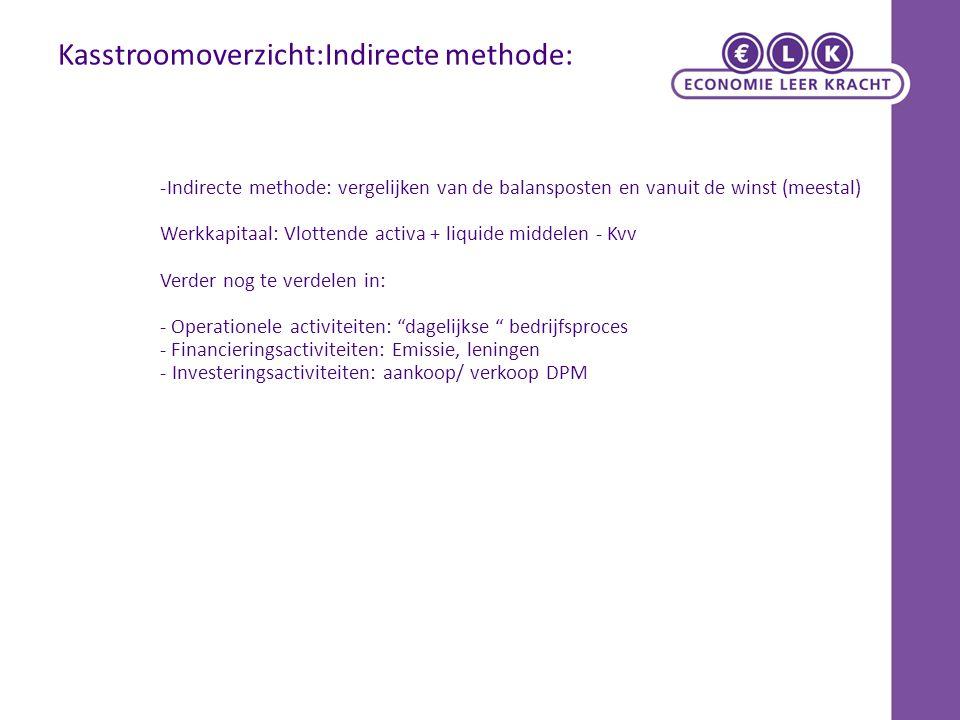 Kasstroomoverzicht:Indirecte methode: -Indirecte methode: vergelijken van de balansposten en vanuit de winst (meestal) Werkkapitaal: Vlottende activa