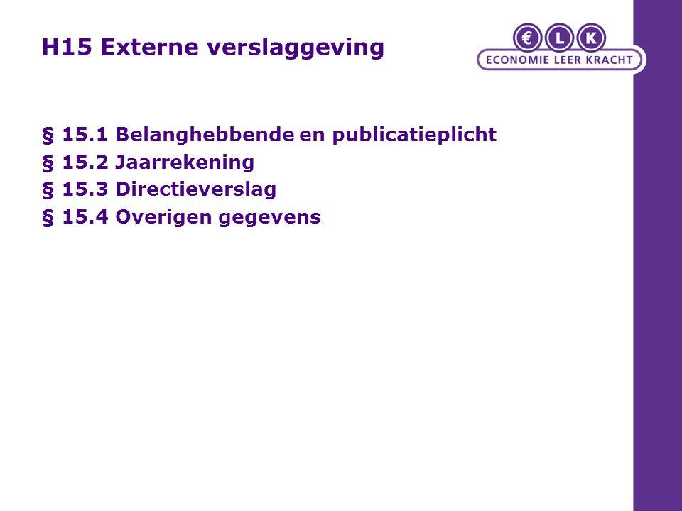 H15 Externe verslaggeving § 15.1 Belanghebbende en publicatieplicht § 15.2 Jaarrekening § 15.3 Directieverslag § 15.4 Overigen gegevens