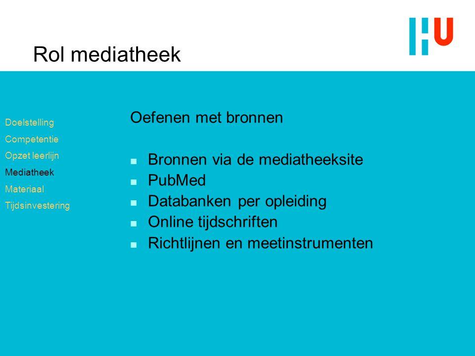 Rol mediatheek Oefenen met bronnen n Bronnen via de mediatheeksite n PubMed n Databanken per opleiding n Online tijdschriften n Richtlijnen en meetins