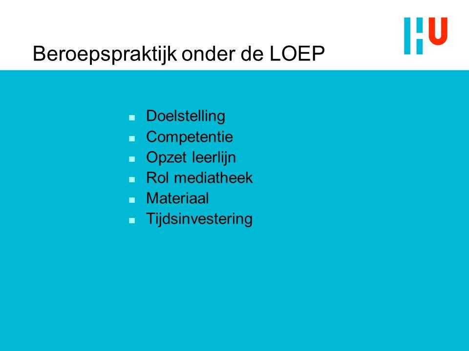 Beroepspraktijk onder de LOEP n Doelstelling n Competentie n Opzet leerlijn n Rol mediatheek n Materiaal n Tijdsinvestering